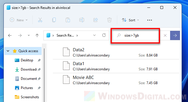 How to find huge files in Windows 11