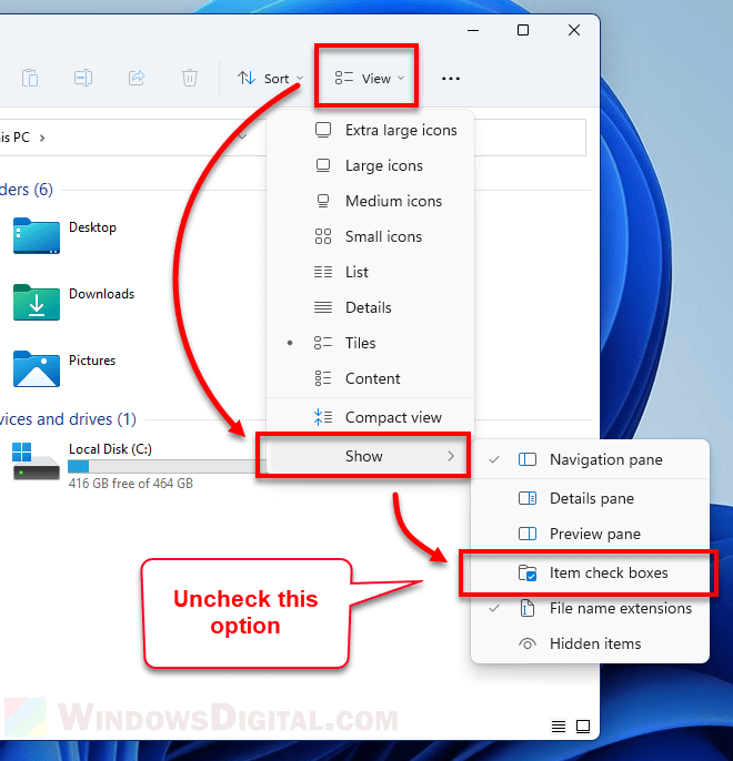 How to get rid of the checkbox in Windows 11