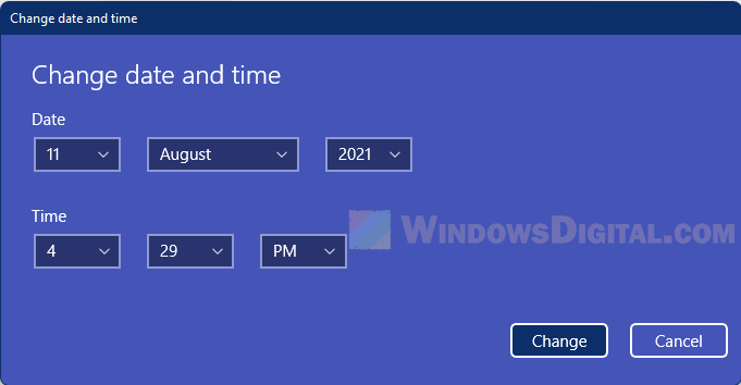 How to manually set date and time Windows 11