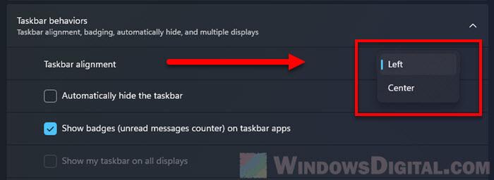 How to move align taskbar icons to left Windows 11