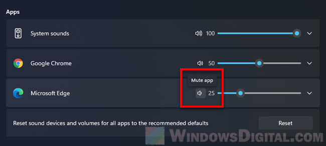 How to mute an app on Windows 11