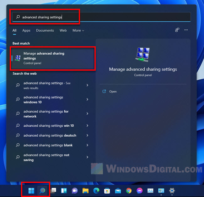 How to open advanced sharing settings in Windows 11