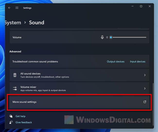 How to open advanced sound settings in Windows 11