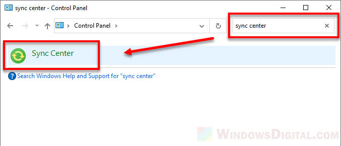 How to open sync center in Windows 10