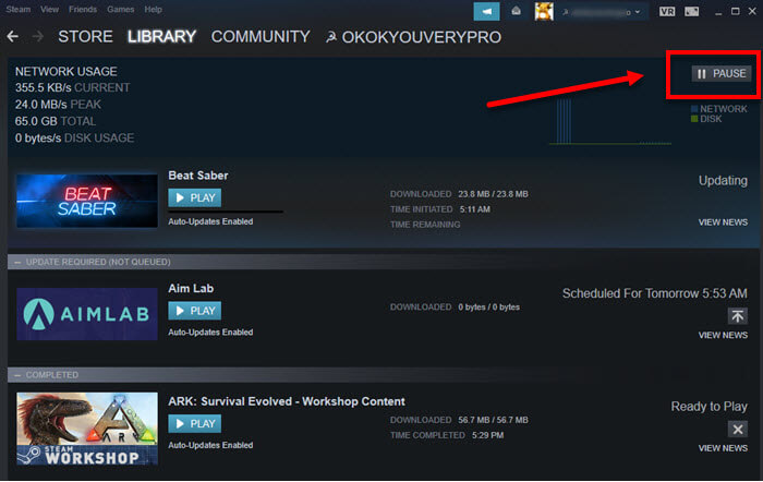 How to pause or stop Steam download update
