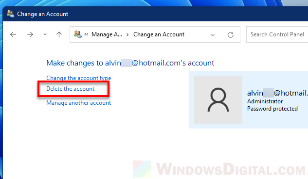 How to remove Microsoft account from Windows 11