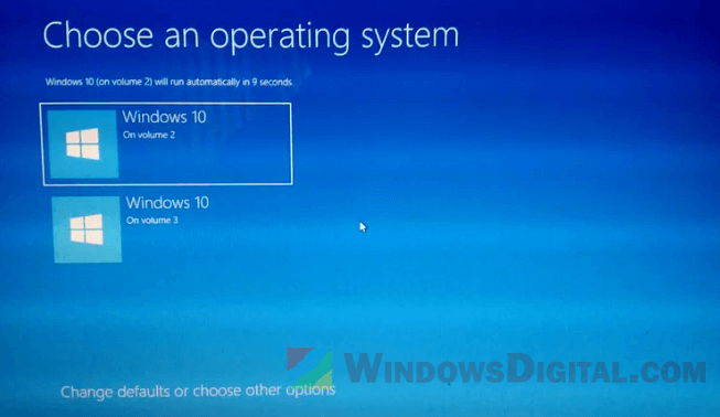 How to remove choose an operating system to start