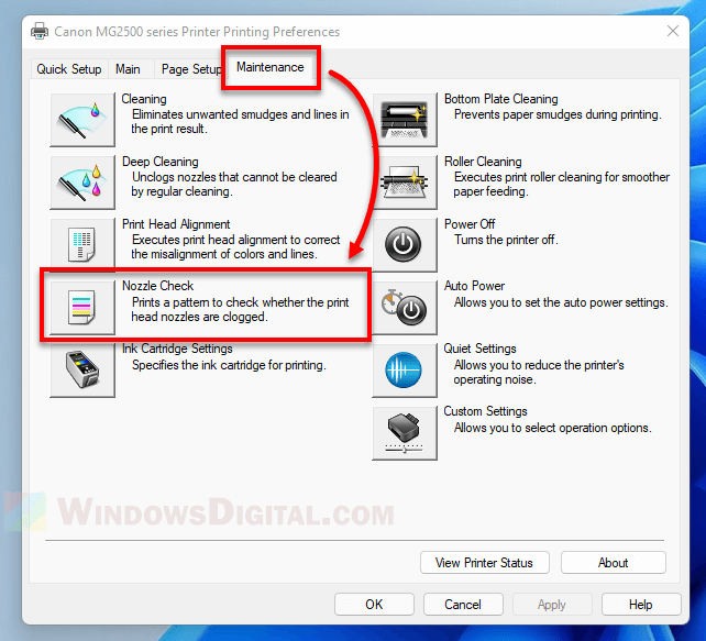 How to run a nozzle check on Windows 11