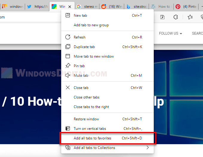 How to save all tabs in Edge