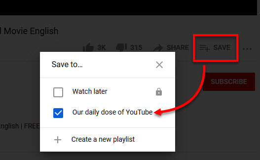 How to save video to playlist on Youtube