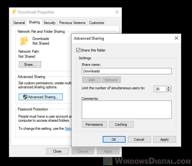 How to share a folder to allow sync between two computers in Windows 10