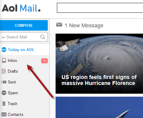 How to sign in to AOL Mail Email Inbox page screen