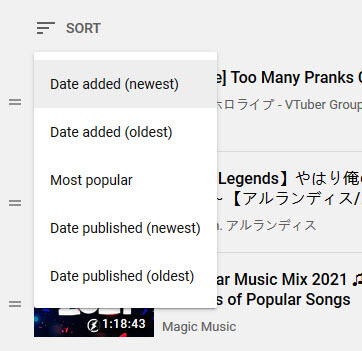 How to sort playlist on Youtube
