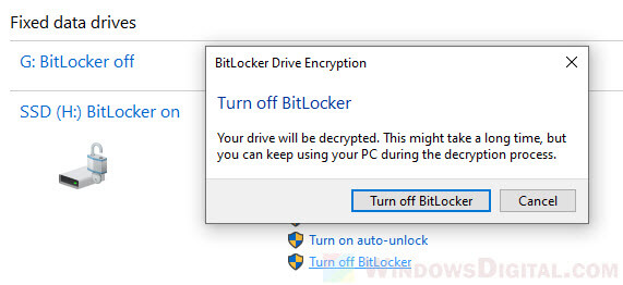 How to turn off BitLocker locked drive Windows 10