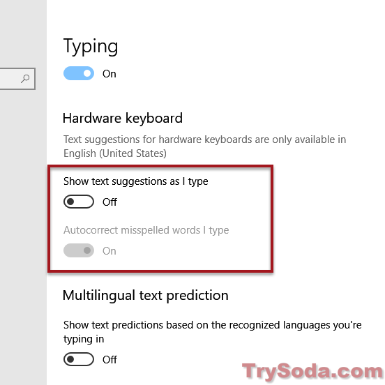 How to turn off text prediction in Windows 10