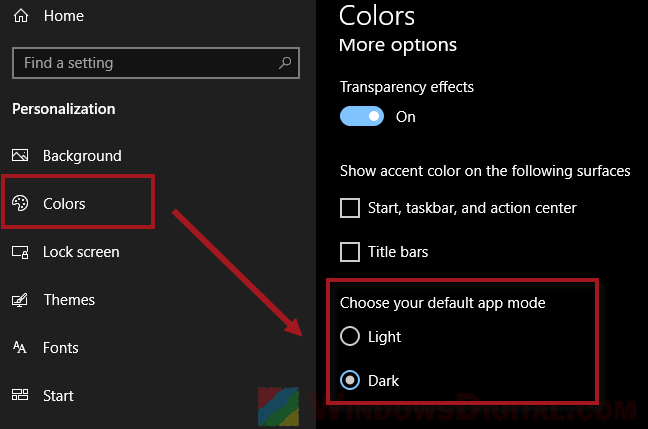 How to turn on Windows 10 dark mode theme
