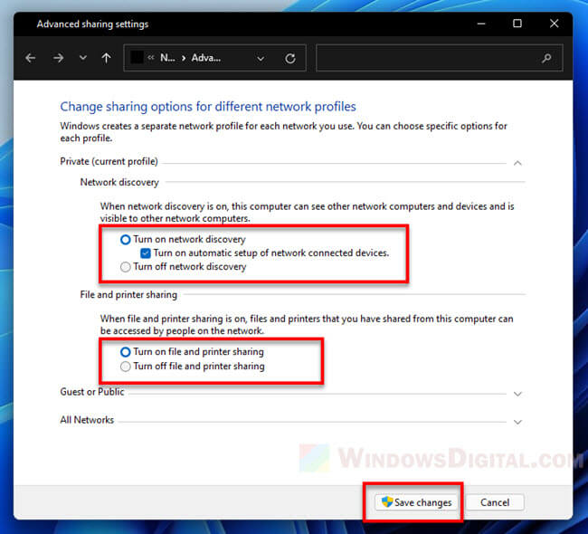 How to turn on network discovery and file sharing in Windows 11