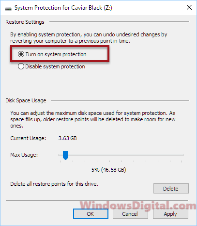 How to turn on system restore in Windows 10