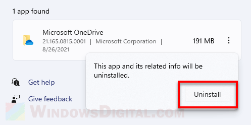 How to uninstall OneDrive in Windows 11