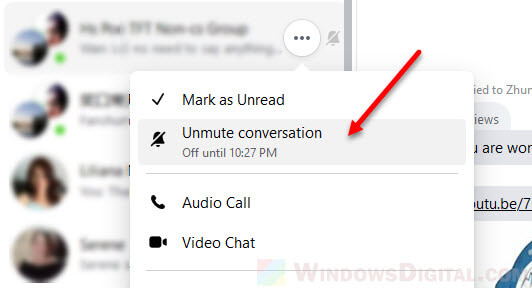 How to unmute someone group chat messages on Facebook Messenger
