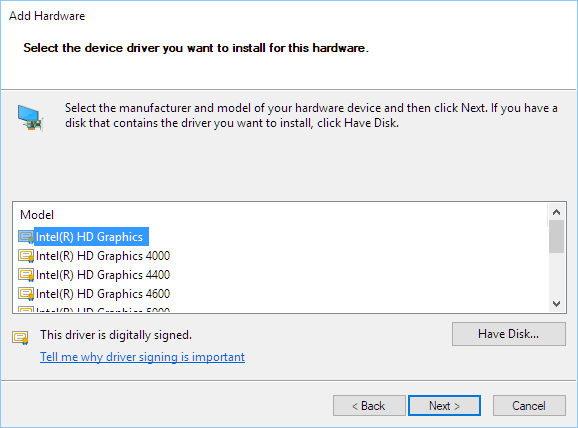 Install Intel HD Graphics