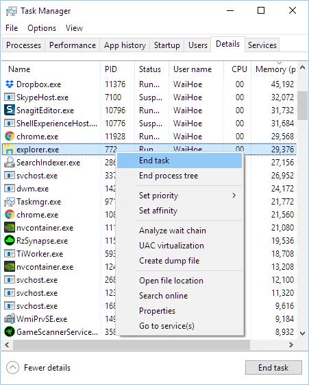 Kill explorer.exe Windows explorer crash