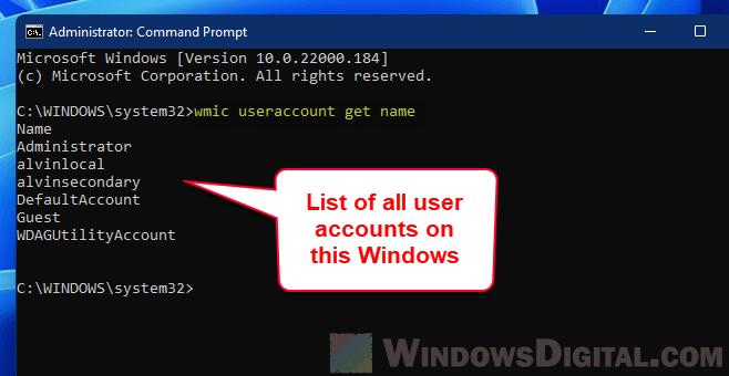 List all user accounts Windows 11 command prompt