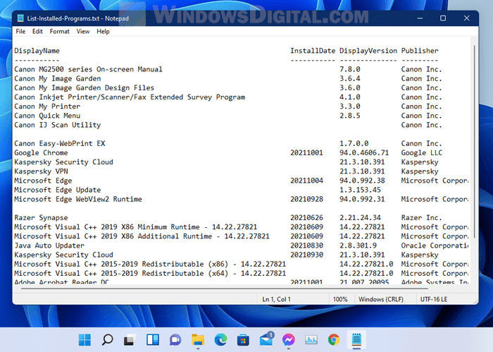 List installed programs and save as text file Windows 11