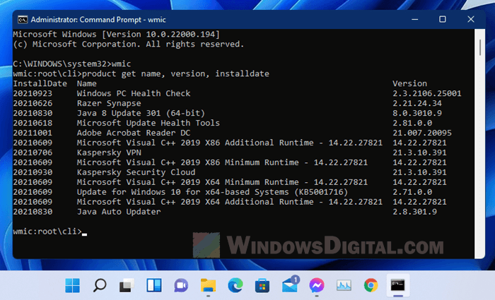 List installed programs using Command Prompt