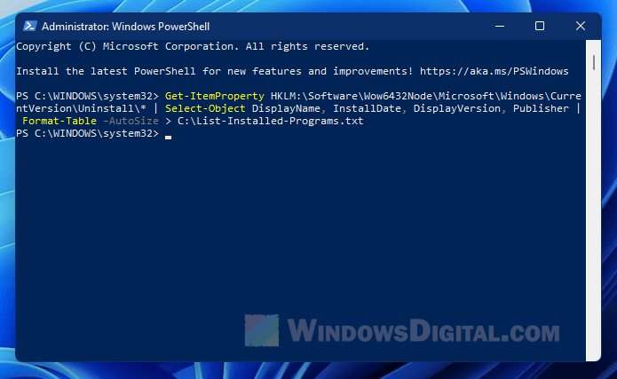 List installed software in Windows 11 using PowerShell