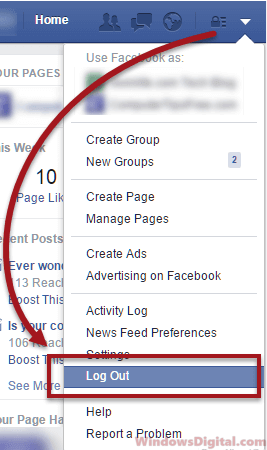 Log out of Facebook account