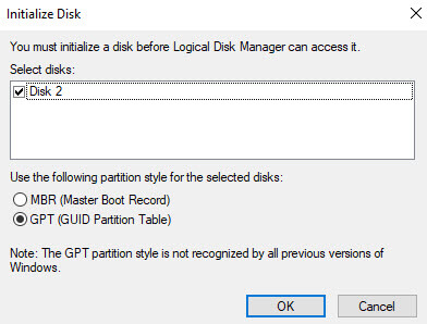 MBR or GPT for SSD initialize format