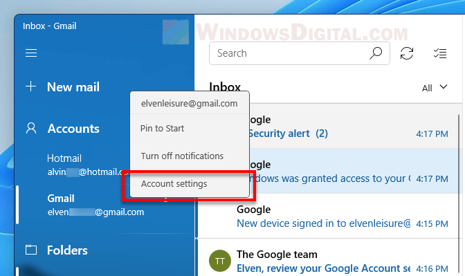 Mail app account settings Windows 11