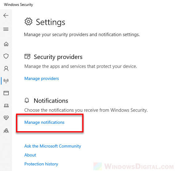 Manage Windows Defender firewall notifications