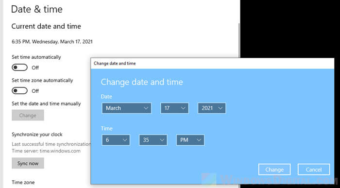 Manually set or change the date and time in Windows 10