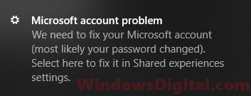 Microsoft Account Problem Notification Message Popup Windows 10