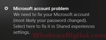 Microsoft Account Problem Notification Message Popup Windows 10