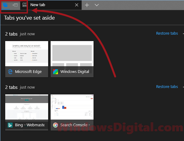 Microsoft Edge Set this tab asides Tabs you've set aside