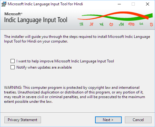Microsoft Indic language input tool for Windows 10 64 bit