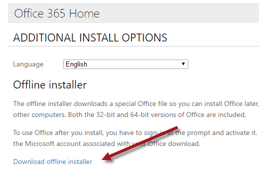 office 365 offline installer error
