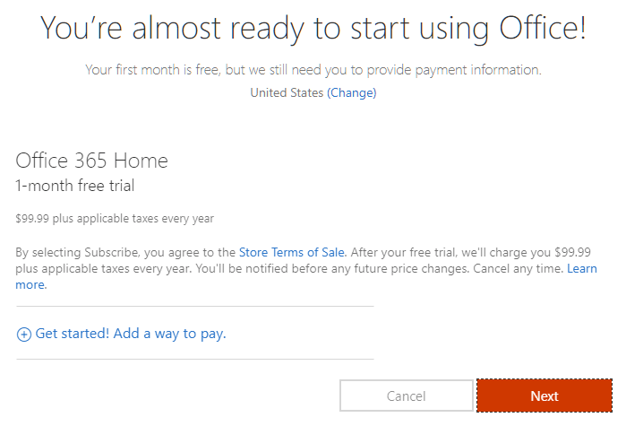 Microsoft Outlook free trial price