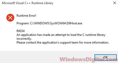 Microsoft Visual C++ Runtime Library Error Windows 10 Fix