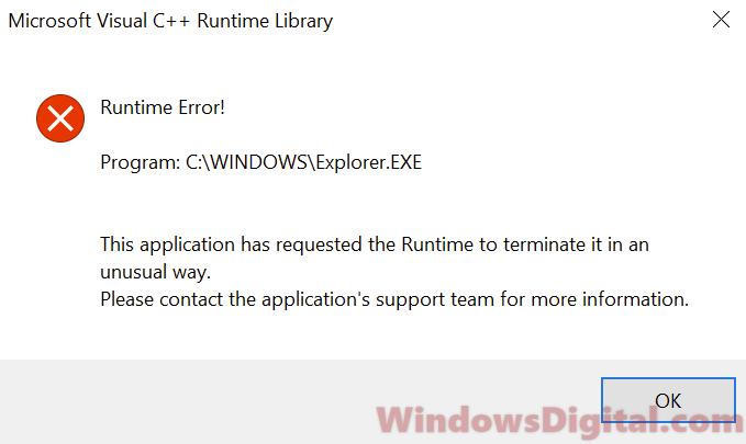 Microsoft Visual C++ Runtime Library Error Windows 10