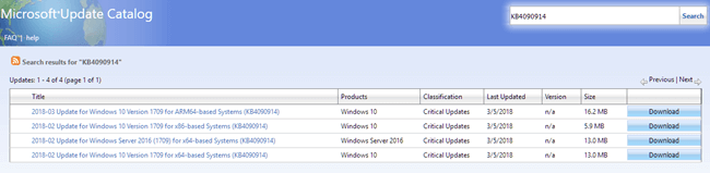 Microsoft Windows Update catalog