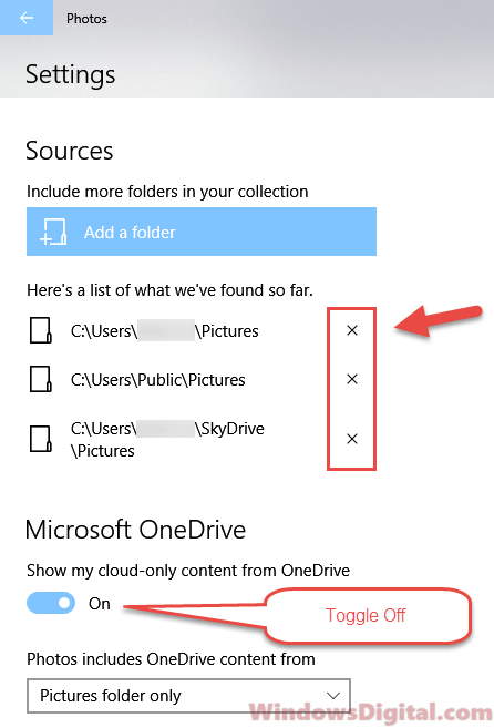Microsoft.Photos.exe Photos app settings sources folders OneDrive