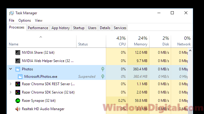Microsoft.Photos.exe memory usage suspended