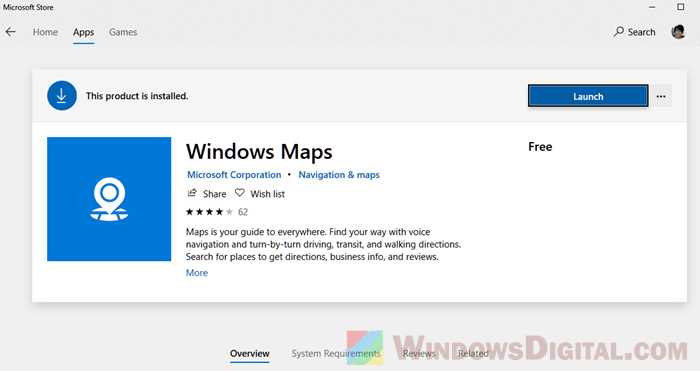 Microsot Windows Map for Windows 10