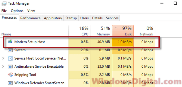 Modern Setup Host High CPU Disk Usage Windows 10