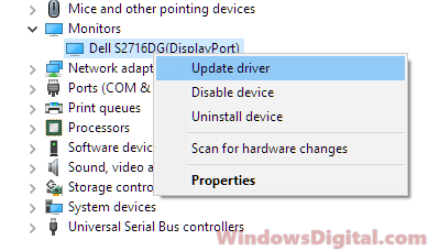 Monitor not working after update Windows 10
