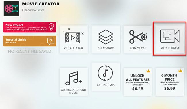 Movie maker Merge Video Windows 10
